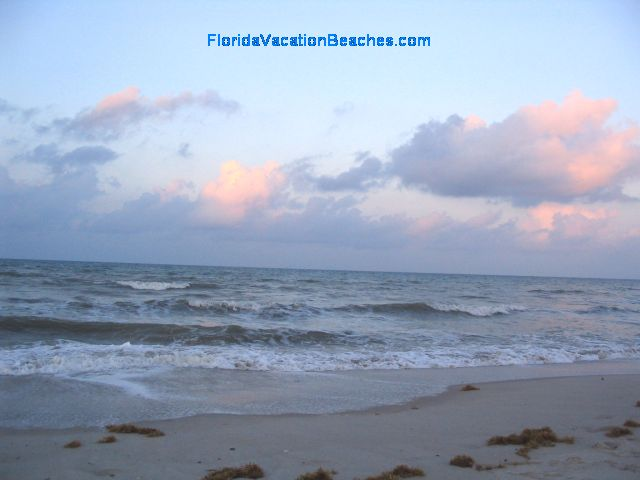 Pink & Blue Beach Sunset Sky & Clouds over Atlantic Ocean - Florida