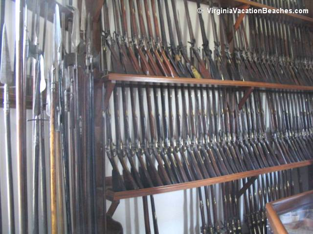 Guns displayed in Magazine & Guardhouse building - Williamsburg Colony - Virginia