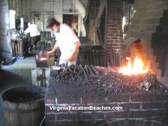 village blacksmith shop - Popular Colonial Williamsburg Attraction - Virginia