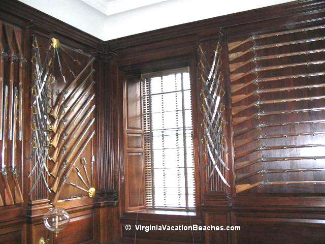 Guns displayed in Governors Mansion - Williamsburg Colony - Virginia